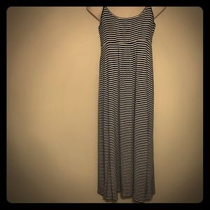 Calvin Klein Black and White Striped Maxi Dress 14